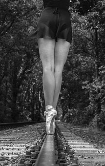 Black White, Woman, Ballet, Ballerina, Dancer, Human