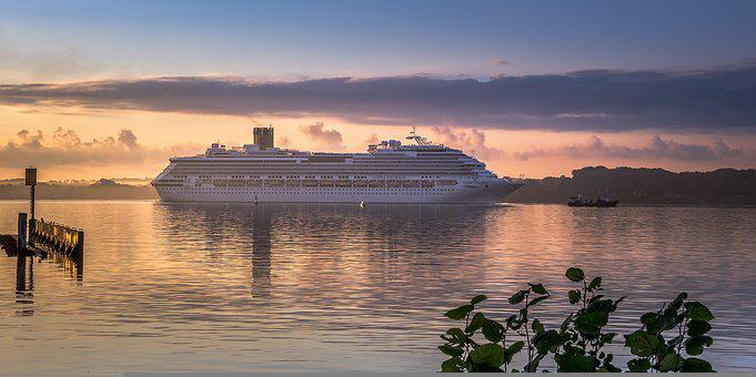 Costa Pacifica, Kiel, Baltic Sea, Port, Sea, Ship, Sky