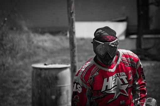 Paintball, Mask, Red, Fire, Sport, Player, Paint