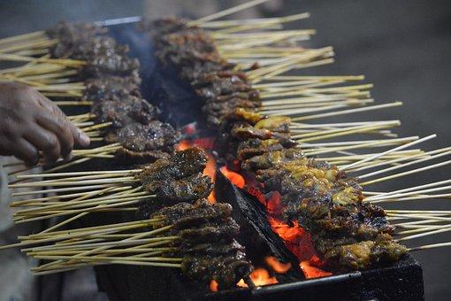 Satay, Bbq, Stick, Meat, Steak, Local, Hot, Grilled