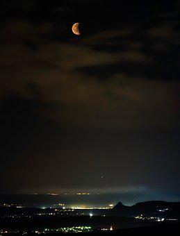 Lunar Eclipse, Blood Moon, Moon, Night, Mystical
