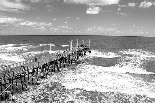 Fishing, Pier, Florida, Ocean, Waves, Daytime, Wooden