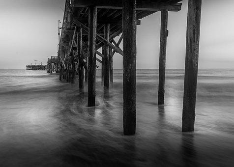Pier, Santa Barbara, Black And White, Ocean, Seascape