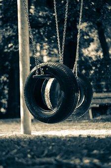 Playground, Mature, Swing, Tire Swing
