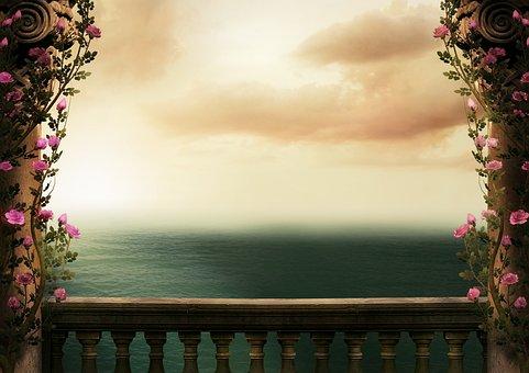 Fantasy, Background, Sea, Columnar, Balustrade, Ranke