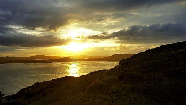 Sunset, Mountains, Sea, Nature, Yellow, Rays, Landscape