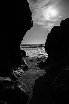 Porto, Beach, Sky, Its, Rock, Black White, Landscape