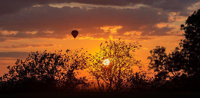 Sun, Sunset, Landscape, Atmosphere, Clouds, Sky, Trees