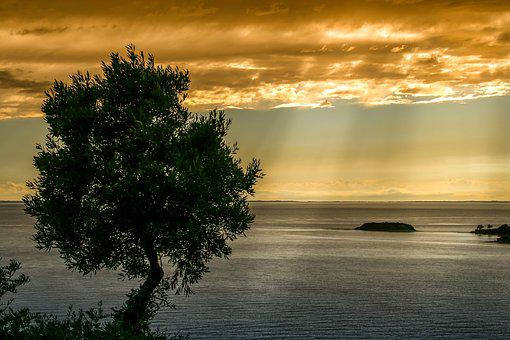 Nature, Landscape, Evening Sun, Sea, Greece, Sunset