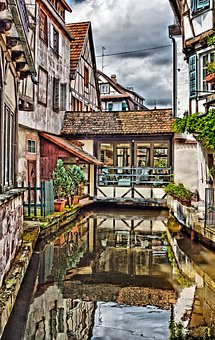 France, Water Reflection, Water, Mirroring