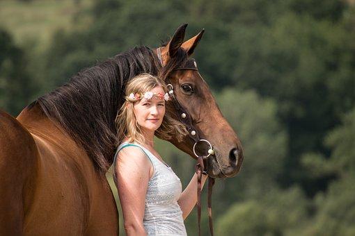 Woman, Human, Horse, Portrait, Connectedness