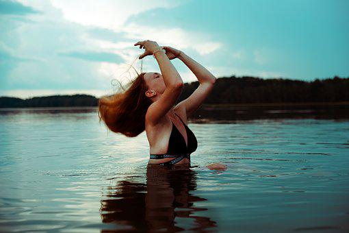 Girl, Storm, Water, Landscape, Dramatic, Woman