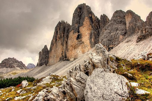 Three Zinnen, Dolomites, Italy, Mountains, Alpine