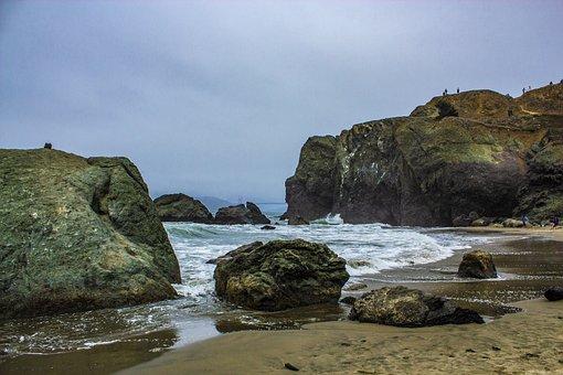 Rock, Golden Gate Bridge, Bridge, Sea, Ocean, Coast
