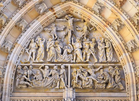 Crucifixion, Arch, Gothic, Architecture, Castle, Stone