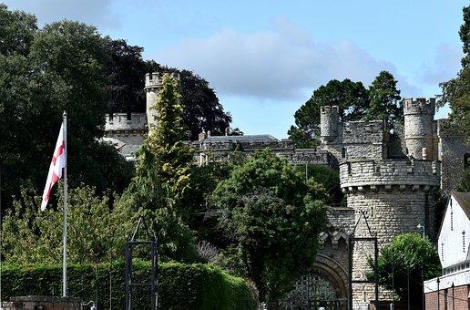 Castle, England, Flag, Turret, Old Building