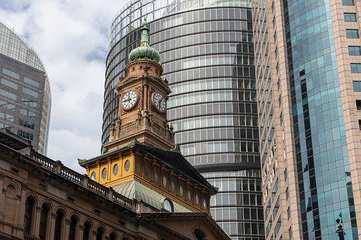 Building, City, Clock, Tower, Sky, Architecture