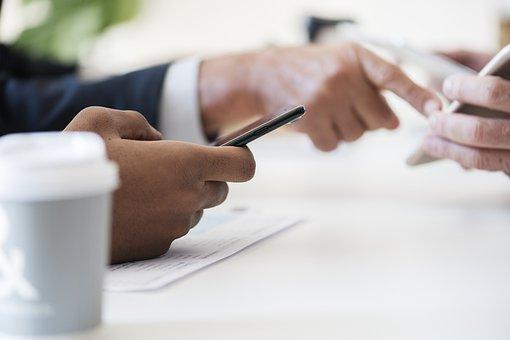 Businessmen, Cellphone, Closeup, Communication