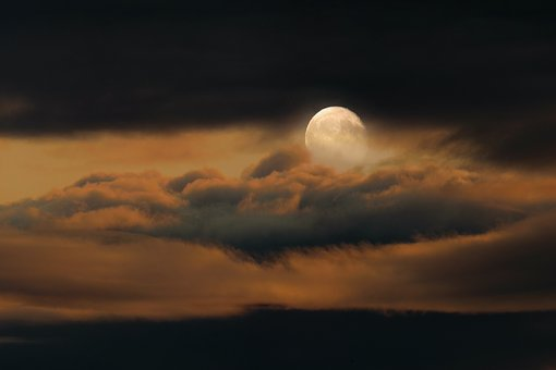 Background, Nature, Sky, Moon, Full Moon, Clouds, Mood