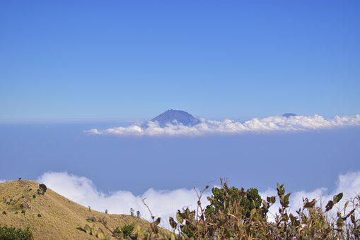 Summit, Top, Peak, Mountain, Merbabu, Indonesia, Clouds