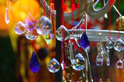 Buddha, Wind Bell, Hanging, Glass, Cut Glass, Design