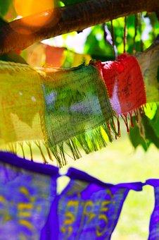 Buddha, Prayer Flags, Flag, Decoration, Textile