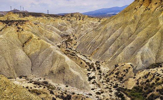 Desert Landscape, Desert, Mountain Wavy, Barren Land