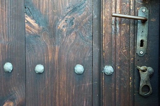 Door, Castle, Locking, Handle, Tree, Metal, Old