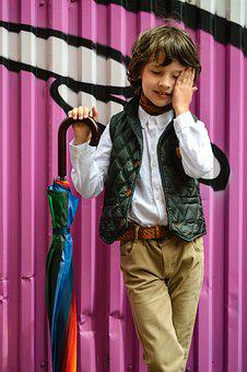 Model, Boy, Advertising Clothes, Emotions, Umbrella