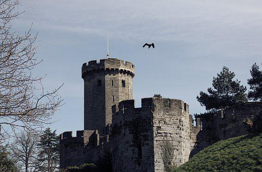 Castle, Eagle, Flying, Sky, Epic, Old, Ancient, Warwick