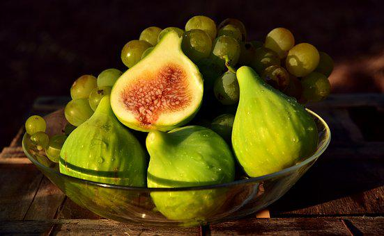 Fruit, Fruit Bowl, Figs, Grapes, Healthy, Mediterranean