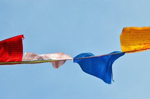 Zaszlo, Prayer Flags, Green, Textile, Sample, Fabric