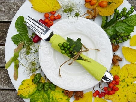 Plate, Cutlery, Autumn, Leaves, Fruits, Harvest, Cook