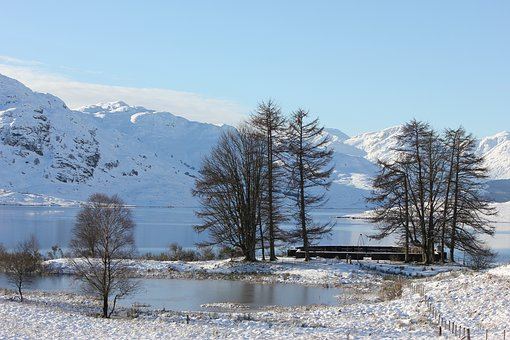 Scotland, Loch, Snow, Landscape, Lake, Highlands