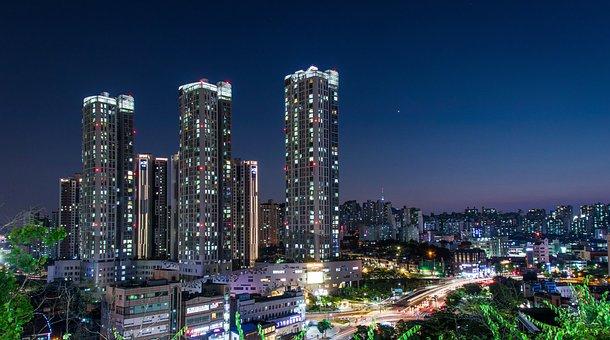 Seoul, Night View, Cbd, City, Night, Korea, Light