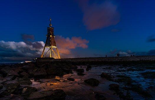 Landscape, Sea, Nature, Blue Hour, Kugelbake