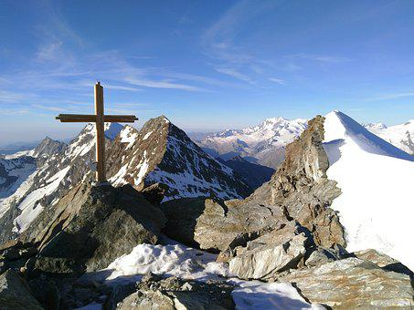 Lagginhorn, Fletschhorn, Summit Cross, Valais