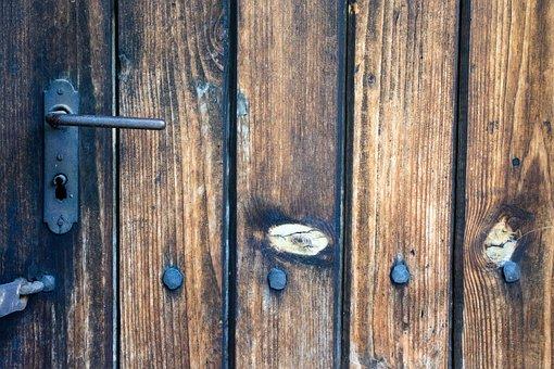 Door, Castle, Locking, Handle, Tree, Metal, Old