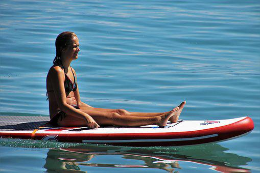 Girl, Sup, On The Water, Relaxation, Lake, Summer, She