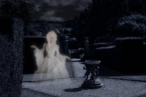 Ghost, Apparition, Creepy, Scary, Garden, Hedges, Path