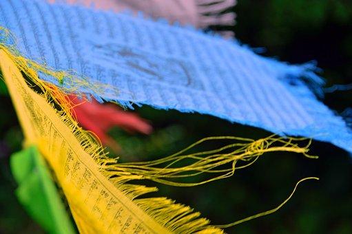 Zaszlo, Prayer Flags-yellow, Green, Textile, Sample