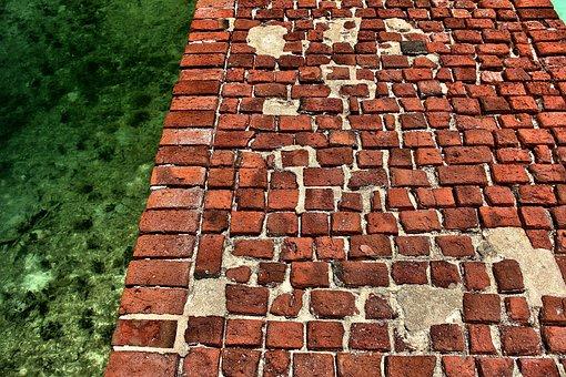 Red Bricks, Ocean, Pathway, Gulf Of Mexico, Florida