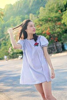Girl, Vietnam, Dress, Woman, Rose, Street, Road