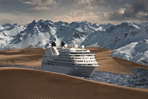 Ship, Desert, Sea, Water, Dry, Mountains, Sky, Boat