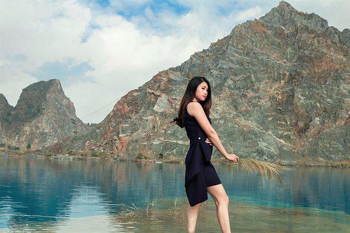 Girl, Lake, Vietnam, Water, Sky, Sunshine, Woman