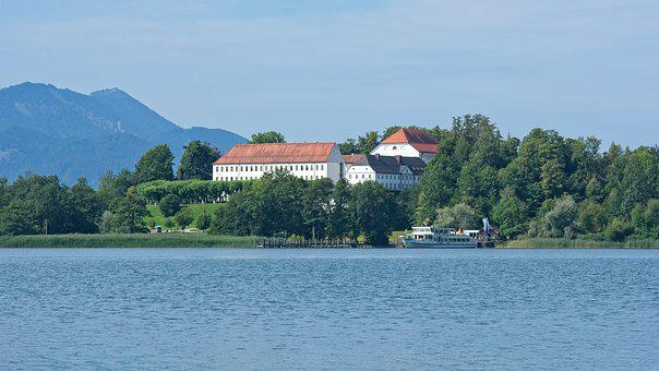 Landscape, Chiemsee, Mr Island, Sky, Water, Lake