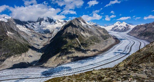Glacier, Alps, Mountains, Landscape, Snow, Switzerland
