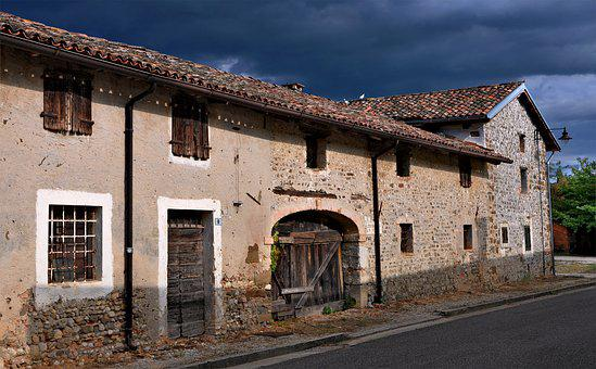 House, Old, Stone, Sky, Storm, Building, Architecture