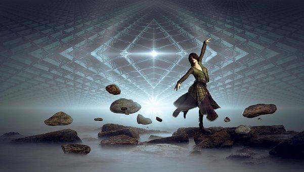 Fantasy, Woman, Dance, Stones, Float, Sky, Structure