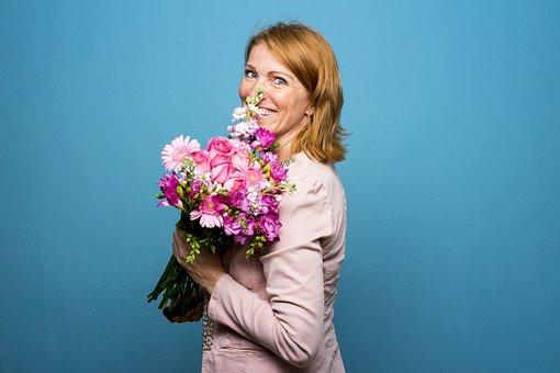 Flowers, Happy, Woman, Portrait, Of Course, Fun, Joy